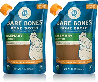 Bare Bones Rosemary & Lemon Chicken Bone Broth for Cooking and Sipping, Pasture Raised, Organic, Protein and Collagen Rich, Keto Friendly, 16 oz, Pack of 2