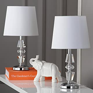 Safavieh Lighting Collection Crescendo Clear and White Tiered Crystal 15-inch Table Lamp (Set of 2)