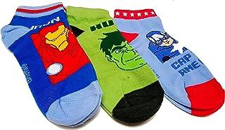 Marvel Avengers - Calcetines para niño, 3 pares, color azul, verde y azul claro, talla Talla 23/26-31/34
