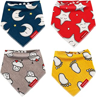Baby Bibs Bandana Drool Bib 4 Pack Gift Set | Soft 100% Cotton, Super-Cute Reversible Designs, Unisex for Boys or Girls