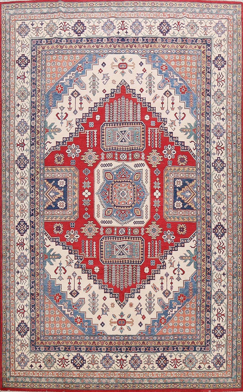 Red Geometric Vegetable Dye Oriental Rug Cheap Area Kazak Nippon regular agency Hand-Knotted