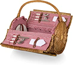 Picnic Time Barrel Wicker Picnic Basket with Service for Two, Red/White Gingham
