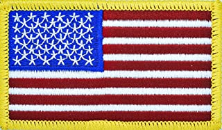 New Age American Flag Embroidered Patch Gold Border USA United States of America Military Iron On Sew On Emblem USA