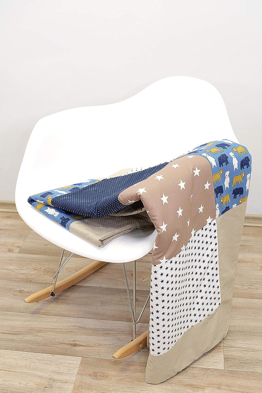 Design: Patchwork - gepolsterte Babydecke aus Baumwolle Blaue Sterne Kuscheldecke oder Tagesdecke /Ökotex 140x200 cm Made in EU ideal als Krabbeldecke ULLENBOOM /® Baby Patchworkdecke
