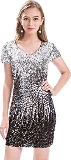 782a1d0a MANER Women's Sequin Glitter Short Sleeve Dress Sexy V Neck Mini Party Club  Bodycon Dresses