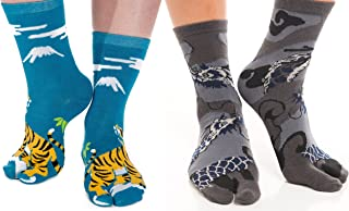 2 Pairs - V-Toe Flip Flop Tabi Toe Socks Stylish Stripes Fashion Fun Patterns