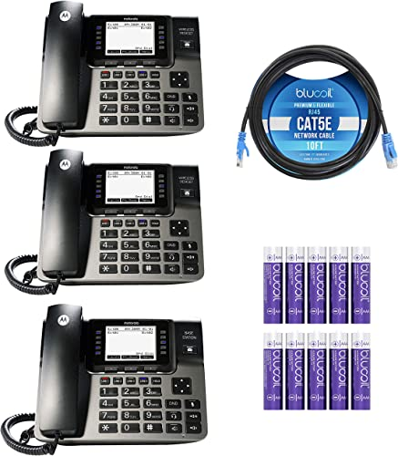2021 Motorola ML1002D (ML1000 x1, ML1100 x2) DECT 6.0 Expandable 4-Line Business Phone System sale with Digital Receptionist and Answering System discount Bundle with Blucoil 10-FT Cat5e Cable, and 10 AAA Batteries online sale