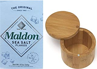 Maldon Gourmet Sea Salt Flakes, One 8.5oz Box and One RJF Brands Bamboo Salt Box with Swivel Lid. Convenient One-Stop Shopping for Birthday Gifts. Also Mothers Day, Christmas and Holiday Gifts!