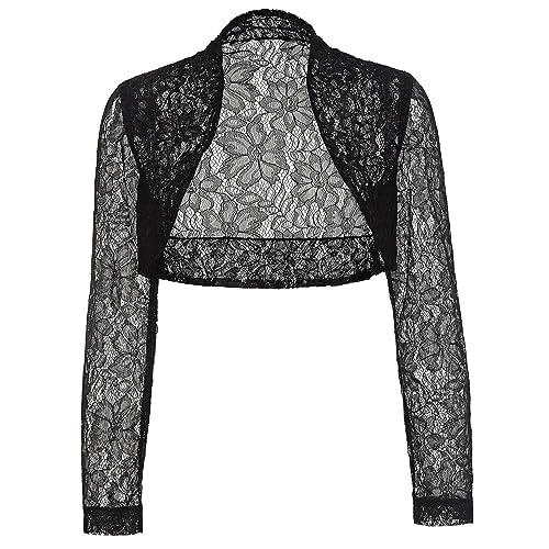 379682aa199 Belle Poque Women's Long Sleeve Floral Lace Shrug Bolero Cardigan JS49