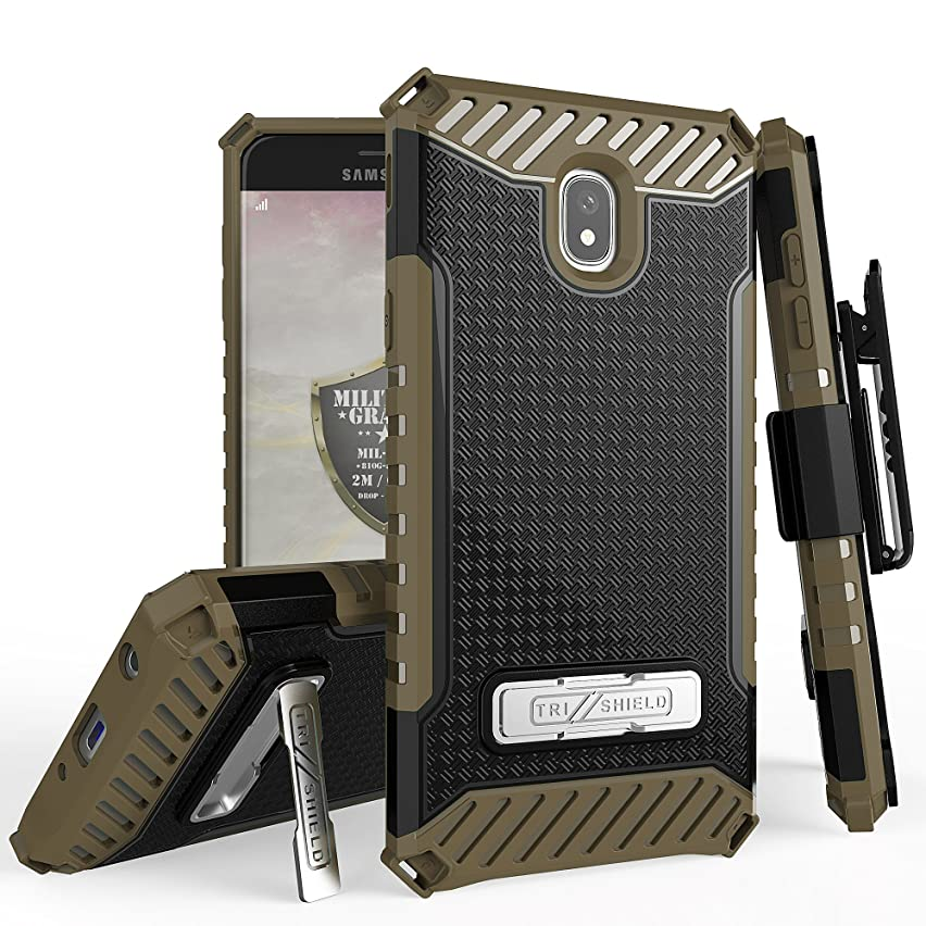 Trishield Series Rugged Heavy Duty Phone Cover for Galaxy J7 2018 Case, J7 Star, J7 Aero, J7 Top, J7 Crown, J7 Aura, J7 Refine Case, [Belt Clip Holster] Kickstand - Brown