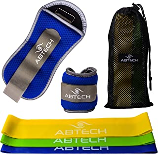ABTECH Ankle Weights, Wrist Weights, Pair | 1lb Each - Adjustable Strap Fits Legs and Arms for Men and Women - Plus 3 Resistance Bands - Enjoy This Workout, Exercise Kit in The Convenient Carry Bag