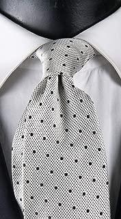 Corbata de hombre blanco perla con micro fantasía negra y lunares ...