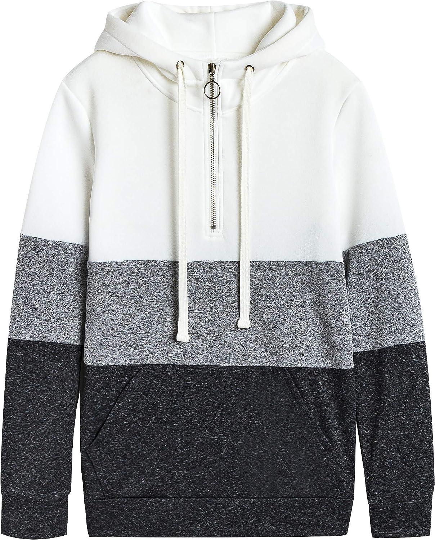 Girls Long Sleeve Color Block Pullover Fleece Hoodie Sweatshirt Tops