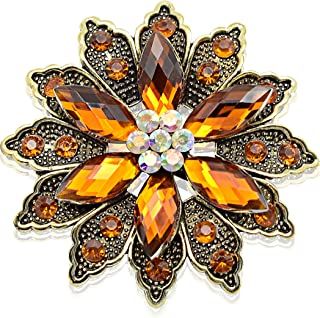 Vintage Flower Brooch for Women - Crystal Rhinestone Brooch Pins, Ideal Gift for Mothers, Wife, Sisters, Friends, Suitable for Daily Wear, Work, Business, Dating and Shopping