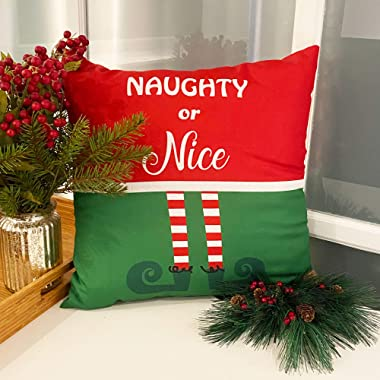 """Elrene Home Fashions Elf Naughty or Nice Holiday Decorative Throw Pillow for Sofa Couch Christmas Décor, 18""""x18"""", Mul"""