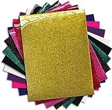 MiPremium PU Heat Transfer Vinyl HTV, Iron On Vinyl Starter Pack, Assorted Bundle Kit of Heat Press Vinyl in 10 Most Popular of HTV Glitter & Plain Colors, Easy to Cut Weed & Press (10 x Pack)