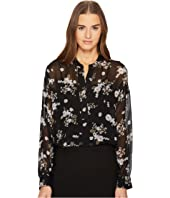 Vince - Tossed Floral Shirred Drape Pullover