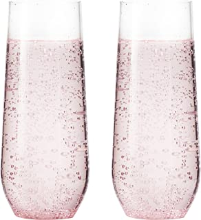 15 pack Shatterproof Champagne Flute (7 Ounce), Plastic Champagne Flutes, Champagne Glasses, Recyclable Champagne Plastic Cup - Stemless, Shatterproof, Flute Glasses