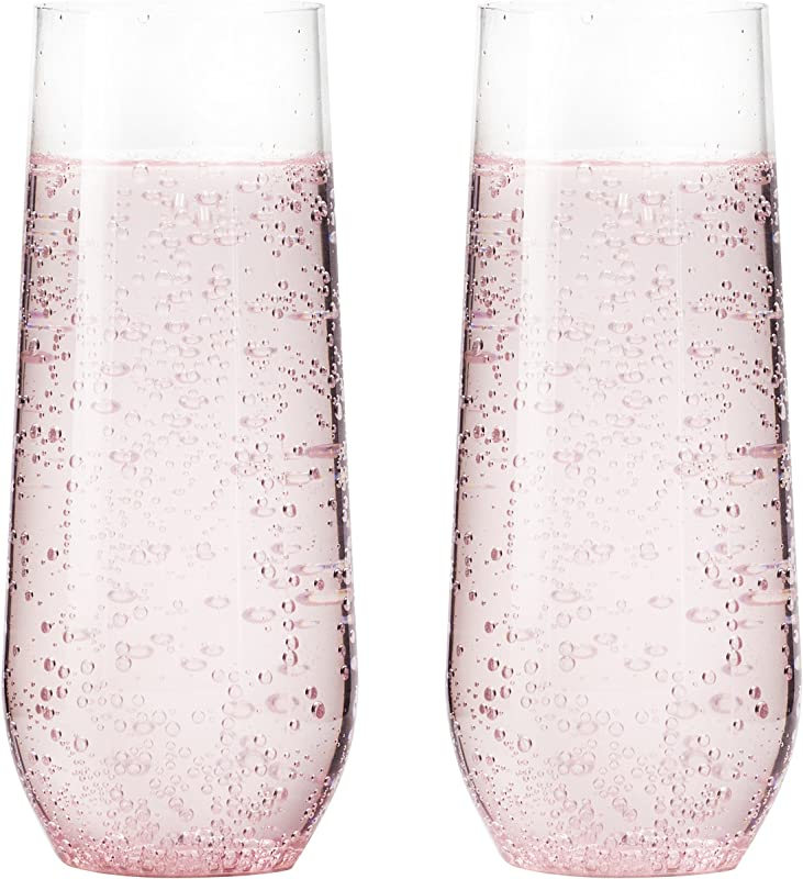 15 Pack Shatterproof Champagne Flute 7 Ounce Plastic Champagne Flutes Champagne Glasses Recyclable Champagne Plastic Cup Stemless Shatterproof Flute Glasses