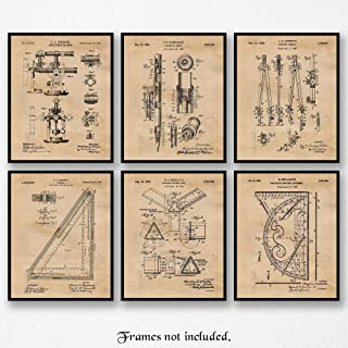 Original Architect Patent Art Poster Prints, Set of 6 (8x10) Unframed Photos, Great Wall Art Decor Gifts Under 20 for Home, Office, Garage, Man Cave, Studio, Student, Teacher, Designer & Builder Fan