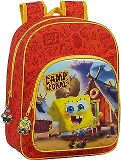 612083185 Mochila Escolar Infantil de Bob Esponja adaptable a carro, Naranja/Amarillo, Único