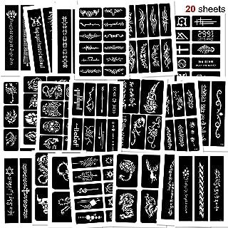 Konsait 123pcs Temporary Tattoos Stencils, 20 Sheets Boys and Man Glitter Tattoo Kit Templates Face Painting Stencil Body Art Stencil Pack for Adults Girls Women Kids Teenager Adultssigns