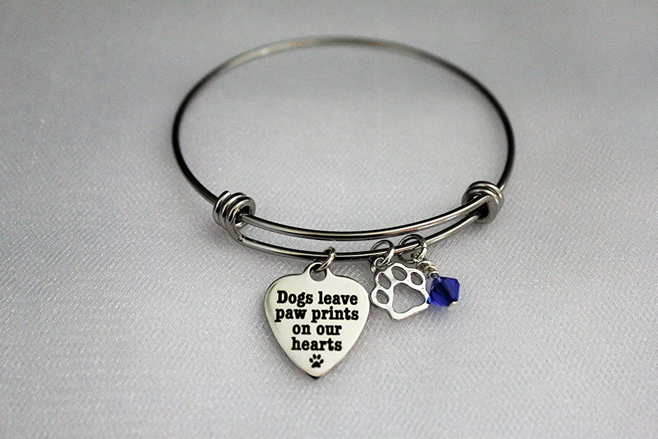 Dogs Leave Paw Prints On Our Hearts Adjustable Bangle Charm Bracelet With Silver Paw Print Charm and Swarovski Birthstone Crystal