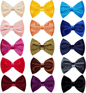 inSowni 15 Pack Solid Velvet Big Bow Alligator Hair Clips Barrettes Hair Accessories for Baby Girls Toddlers Teens Kids