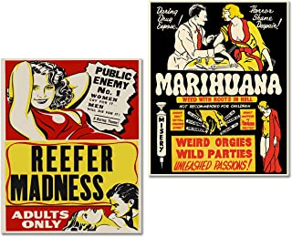 BigWig Prints Marijuana Cannabis Propaganda Posters Reefer Madness Set of 2 (8 inches x 10 inches) Photos - Wall Art Decor Posters