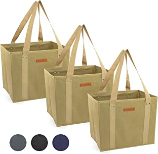 Reusable WASHABLE Grocery Shopping Cart Trolley Bags - set of 3 | Large, Durable, Collapsible Tote with Reinforced Sides and Bottoms (Tan, 3)