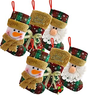 Houwsbaby Set of 6 Scottish Christmas Stockings Small Holders Kit Plush Socks Gift Bags for Kids Tartan Decor Home Ornament Holiday Party Supplies, Red, 9'' (02)
