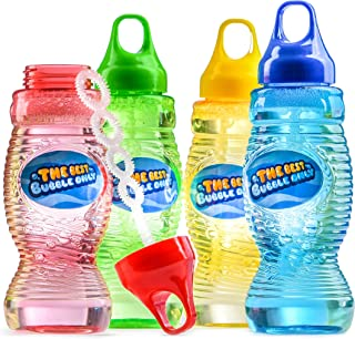 Prextex Toy Big Bubble Solution Total of 32 Ounces Refill with Wand, Bubble Gun Refill, Kids Outdoor Toys for Pool, Birthday, Wedding, Bubble Party Favors (Pack of Four 8 oz Bottles)