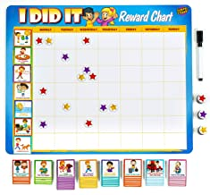 """Learn & Climb Toddler Chore Chart - 63 Behavioral Chores as Potty Train, Behavior & More. """"Thick Magnetic"""" Reward Chart Board/Tasks-for Multiple Kids"""
