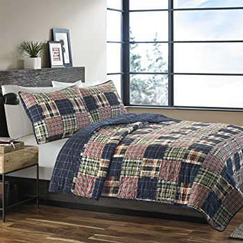 Eddie Bauer | Madrona Collection | 100% Cotton Reversible & Light-Weight Quilt Bedspread With Matching Shams, 3-Piece Bedding Set, Pre-Washed For Extra Comfort, Full/Queen, Plaid