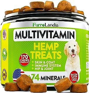 Dog Hemp Multivitamin Treats - Essential Dog Vitamins for Hip & Joint Support + Digestion, Skin & Coat, Heart, Immune Heal...