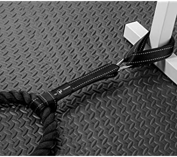 Battle Rope Anchor Strap Kit | Heavy Duty Reinforced Nylon | Easy and Fast Setup | Stops Rope Damage | Stainless Stee...