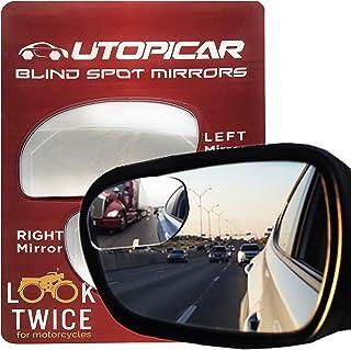 آینه های نقطه کور Utopicar. آینه های درب اتومبیل با طراحی منحصر به فرد / آینه برای سمت نابینای که برای تصویر بزرگتر و ایمنی ترافیک طراحی شده است. نمای عالی عقب! [طراحی بدون قاب] (2 بسته)