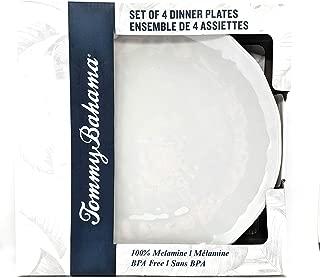 """Tommy Bahama 100% Melamine 4-Dinner Plates (11"""" Diameter) Scalloped Light Grey"""
