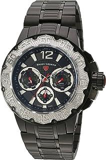 Men's 'Ultrasonic' Quartz Stainless Steel Watch, Color:Black (Model: 14097SM-BB-11-SB)