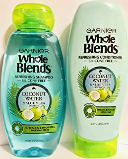 Garnier Whole Blends Haircare - Coconut Water & Aloe Vera - Refreshing Shampoo & Conditioner Set - Net Wt. 12.5 FL OZ (370...
