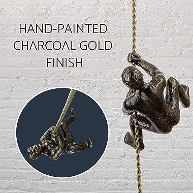 """Kira Home Titan 6"""" Modern Industrial Climbing Man Heavy Duty Cast Iron Metal Wall Sculpture, Solid Metal Art Decor + Hand"""