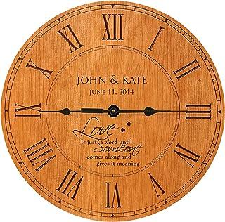 "LifeSong Milestones Personalized Wedding Gifts Modern Decorative Wall Clocks Housewarming for Couple 12""x12"" (Cherry Roman)"