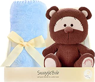 SnuggleBub Minky Baby Blanket Set Newborn Necessities. Blue 30x40inch. Warm, Soft Security Receiving Blanket, Comforter, Swaddle for Infants, Toddlers