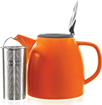 Tealyra - Drago Ceramic Teapot Orange - 1100ml (4-6 Cups) - Large Stylish Teapot with Stainless Steel Lid and Extra-Fine Infuser to Brew Loose Leaf Tea - 37-Ounce