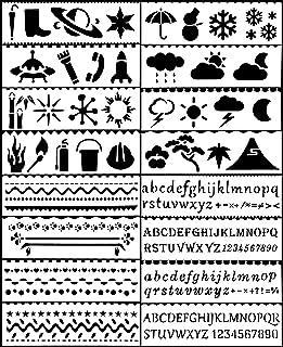 Quaford ステンシルシート ステンシル シート テンプレート 16枚入 メッセージカード 手帳 (気候&アルファベット)