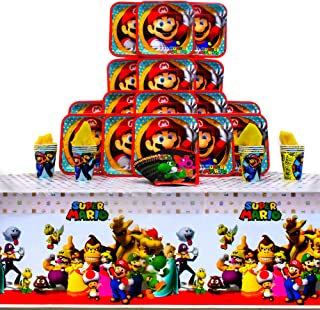 Super Mario Brothers Party Pack Seats 16 - Napkins, Plates, Cups and Tablecloth - Super Mario Brothers Party Supplies, Deluxe Party Pack