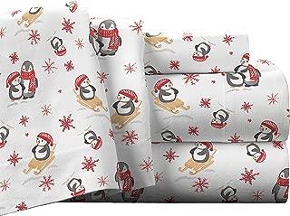 Pointehaven Flannel Deep Pocket Set with Oversized Flat Sheet, Queen, Penguin