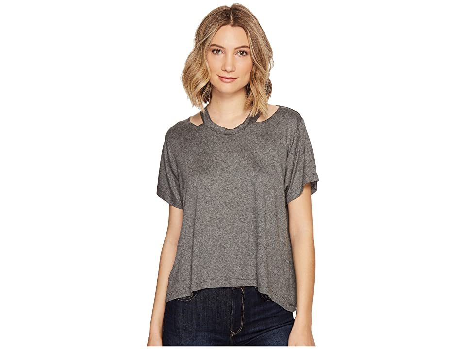 Nicole Miller Riley Jersey Cut Out Shirt (Charcoal) Women's T Shirt