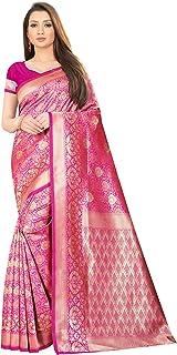Texstile Women's Banarasi Silk Jacquard Work Saree (Pink_Free Size)