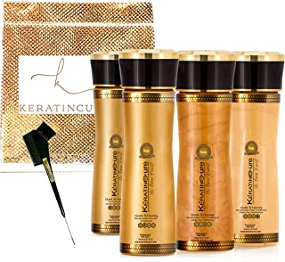Keratin Cure Best Hair Treatment Gold and Honey Bio-Brazilian 6 Pieces 5 oz Kit Kids, Men, Women, Silky Soft Formaldehyde Free Complex with Argan Oil Nourishing Straightening Damaged Dry Frizzy Coarse